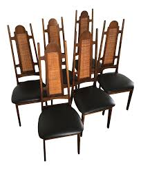 Mid-Century High Back Dining Chairs - Set Of 6 On Chairish ... Indoor Chairs Slope Leather Ding Chair Room Midcentury Cane Back Set Of 6 Modern High Mid Century Walnut Accent Wingback Curved Arm Nailhead W Wood Leg Project Reveal Oklahoma City High End Upholstered Ding Chairs Ameranhydraulicsco 1950s Metalcraft 2 Available Listing Per 1 Chair Floral Vinyl Covered With Brown Steel Frames Design Institute America A Pair Midcentury Fniture Basix Kitchen Best For Home