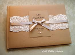 Rustic Style Country Lace Wedding Guest Book Various Colour Options For Satin Ribbon
