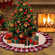 OurWarm 48inch Plaid Christmas Tree Skirt Ruffle Edge Xmas Decorations For Home New