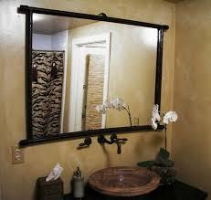 Diy L Shaped Bathroom Vanity by Oval Bathroom Mirror Ideas Double L Shaped Brown Finish Mahogany