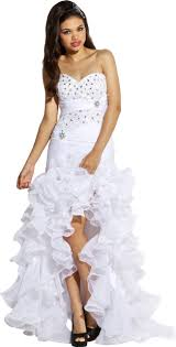 beaded organza high low ruffle prom pageant dance dress white