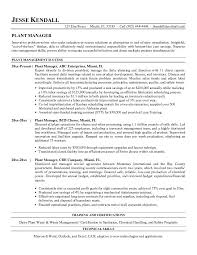 Best Resume Plant Manager