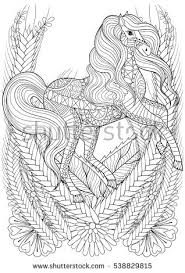 Racing Horse In Flowers Adult Anti Stress Coloring Page Hand Drawn Zentangle Animal For Colouring