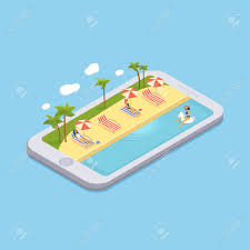 Isometric Swimming Pool With Chaise Lounges Parasol Umbrellas Beach Balls Palms Peoples