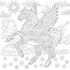 Pegasus Coloring Page Greek Mythological Winged Horse Flying Adult Book Idea Anti