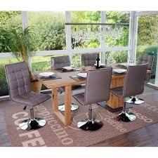 esszimmerstuhl hwc c41 stuhl küchenstuhl höhenverstellbar drehbar kunstleder taupe grau
