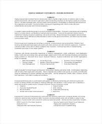 Summary Sample Resume Statement Example Profile