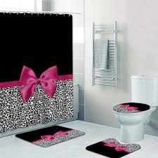 girly rosa band leopard druck dusche vorhang und bad teppiche set moderne cheetah leopard bad vorhänge für bad home decor