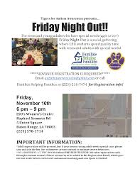 LSU Tigers for Autism FRIDAY NIGHT OUT Families Helping Families