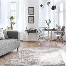 teppich wohnzimmer grau kurzflor flachflor meliert vintage design modern größe 120 x 170 cm