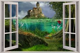 Wall Mural Decals Uk by 3d Wall Murals Details About Huge 3d Window Enchanted Castle