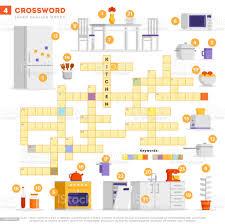 kreuzworträtsel mit großen abbildungen und keyword im vektor flat design isoliert auf weißem hintergrund kreuzworträtsel küche 4 lernen englischer