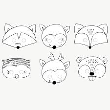 Masques Animaux De La Forêt à Colorier X6