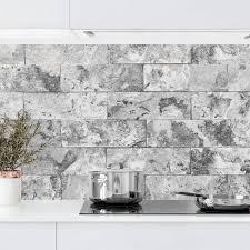 küchenrückwand steinwand naturmarmor grau