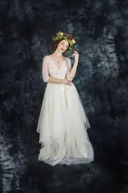ivory lace bohemian wedding dress boho wedding dress long