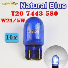 flytop 10 pieces lot 580 7443 w21 5w xenon t20 blue