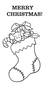Christmas Stocking Coloring Page Simple Home Free Winter S Blank