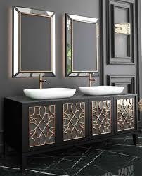 casa padrino luxus badezimmer set schwarz gold weiß 1 waschtisch mit 4 türen und 2 waschbecken und 2 wandspiegel