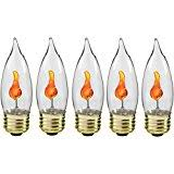 flicker bulb with standard base flickers with a soft orange