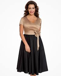 Gina Glamorous Gold Black Vintage Party Dress