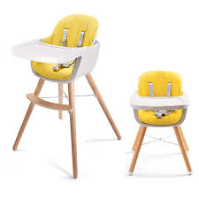 Asunflower Wooden High Chair 3 In 1 Convertible Modern Highchair Solution  With Cushion, Adjustable Feeding High Chair For Toddler/Infant/Baby