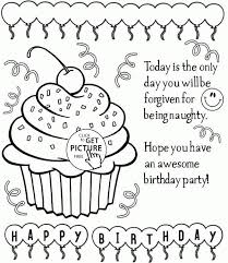 Happy Birthday Cupcake Coloring Page For Kids Holiday Pages Printables Free