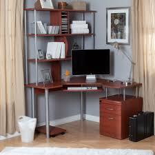 Bush Vantage Corner Desk Pure White by Office Sweet Yellow Shade Table Lamp On White Corner Computer