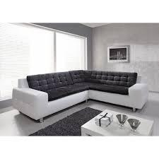 canap d angle fixe loft canapé d angle fixe 6 personnes simili et tissu blanc et gris