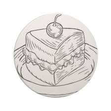 Cake Slice Vintage Retro Woodcut Style Drink Coaster drawing sketch design graphic draw personalize