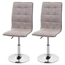 2x esszimmerstuhl hwc c41 stuhl küchenstuhl höhenverstellbar drehbar stoff textil creme grau