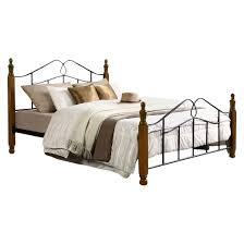 Jaycee Classic Vintage Style Iron Metal Platform Bed With Dark