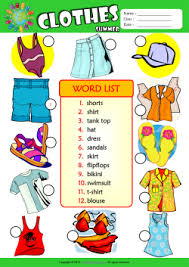 Summer Clothes Number The Pictures ESL Vocabulary Worksheet
