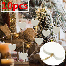 10x Christmas Wedding Tree Decorations Rustic Nordic White Wooden Hanging Hearts
