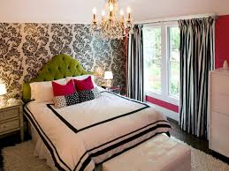 Light Engaging Image Of Girl Bedroom Decoration Using Black And White Pattern Wallpaper Including Curved Tufted