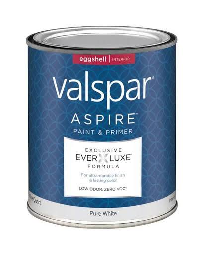Valspar Aspire Paint Acrylic Interior Eggshell Pure White Tint Base 1 qt 0 VOC Pack of 4