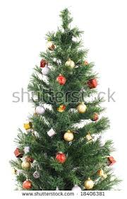 Silvertip Fir Christmas Tree by Decorated Christmas Tree Isolated On White Stock Photo 41858947