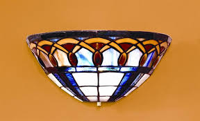 moon stained glass battery operated led wall sconce