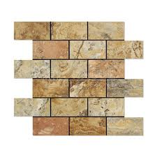 Scabos Travertine Natural Stone Wall Tile by Scabos Travertine 2 X 4 Brick Mosaic Tile Honed And Deep Beveled