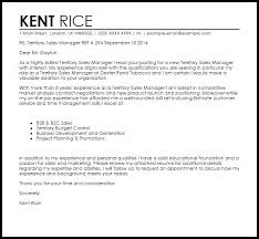 Territory Sales Manager Cover Letter Advance Sample For
