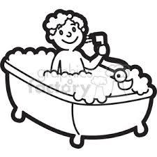 take a bath clipart black and white 8