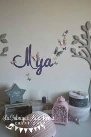 decoration chambre fille papillon stickers prénom fille violet poudré gris papillons