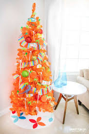 Orange Christmas Tree With Palm Springs Ornaments