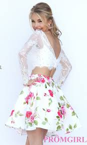long sleeve lace piece dress promgirl