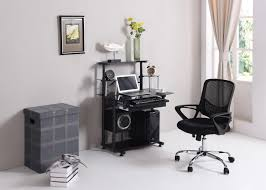 Small Glass And Metal Computer Desk by His 210 Hodedah