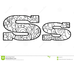 Anti Coloring Book Alphabet The Letter S Vector Illustration
