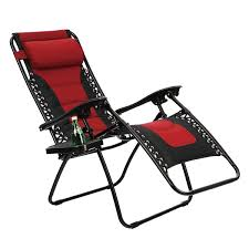 PHI VILLA Padded Zero Gravity Lounge Chair Patio Foldable Adjustable  Reclining With Cup Holder For Outdoor Yard Porch Red - N/A