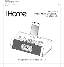 HIP50 iPhone Alarm Clock Radio with Bluetooth User Manual US HiP50