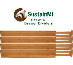Desk Drawer Organizer Amazon by Amazon Com Sustainmi Set Of 4 Expandable And Adjustable Bamboo