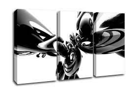 Abstract 3 Panel Magic Eight Ball Black N White Canvas Art
