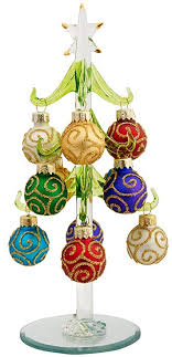 LSArts Glass Christmas Tree With 12 Ornaments Green Swirl 8 Inch Gift